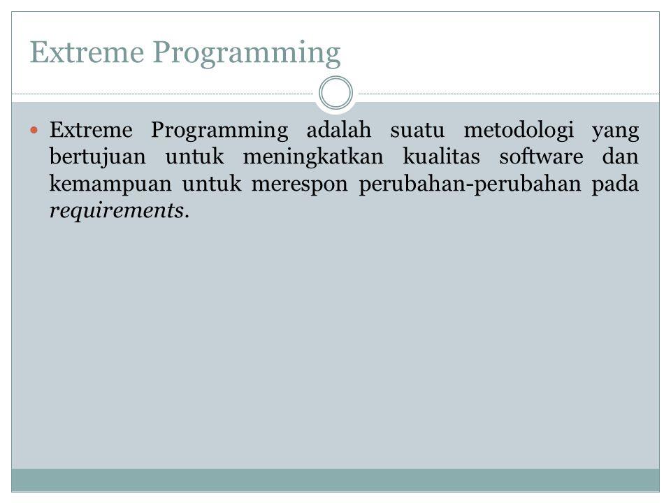 Extreme Programming Extreme Programming adalah suatu metodologi yang bertujuan untuk meningkatkan kualitas software dan kemampuan untuk merespon perub