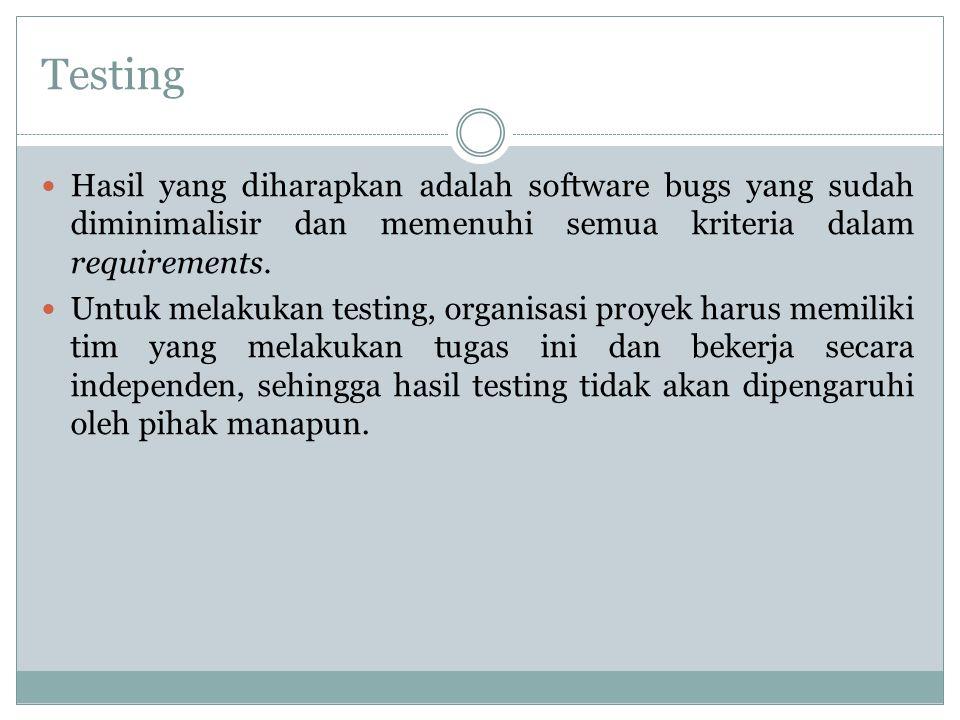 Testing Hasil yang diharapkan adalah software bugs yang sudah diminimalisir dan memenuhi semua kriteria dalam requirements. Untuk melakukan testing, o