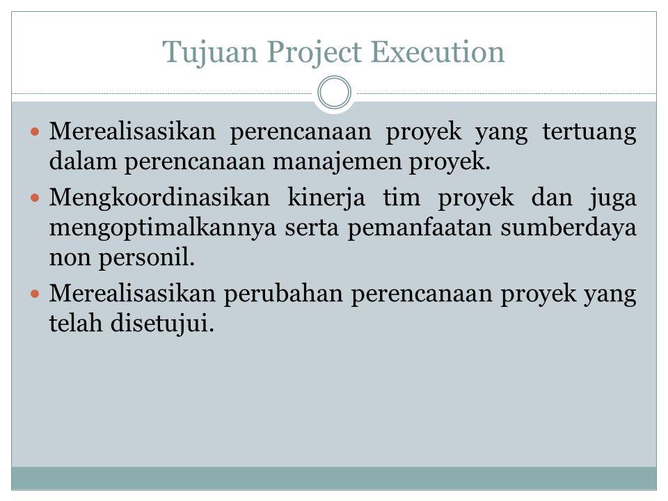 Mekanisme Project Execution Manajer proyek dan tim proyek membentuk kerja sama tim selama proyek berlangsung Manajer proyek dan tim proyek melaksanakan semua tugas yang sudah tertuang di dalam perencanaan manajemen proyek.