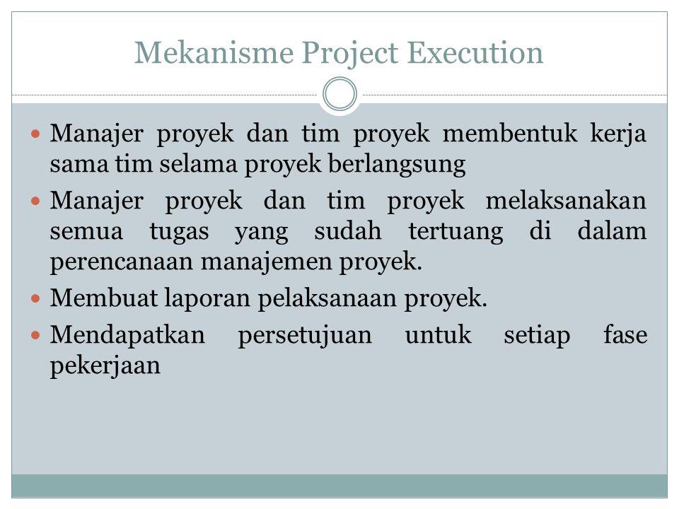Mekanisme Project Execution Manajer proyek dan tim proyek membentuk kerja sama tim selama proyek berlangsung Manajer proyek dan tim proyek melaksanaka