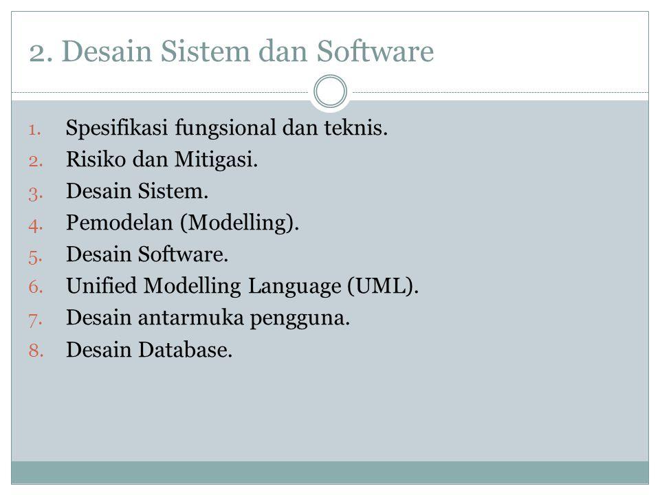 2. Desain Sistem dan Software 1. Spesifikasi fungsional dan teknis. 2. Risiko dan Mitigasi. 3. Desain Sistem. 4. Pemodelan (Modelling). 5. Desain Soft