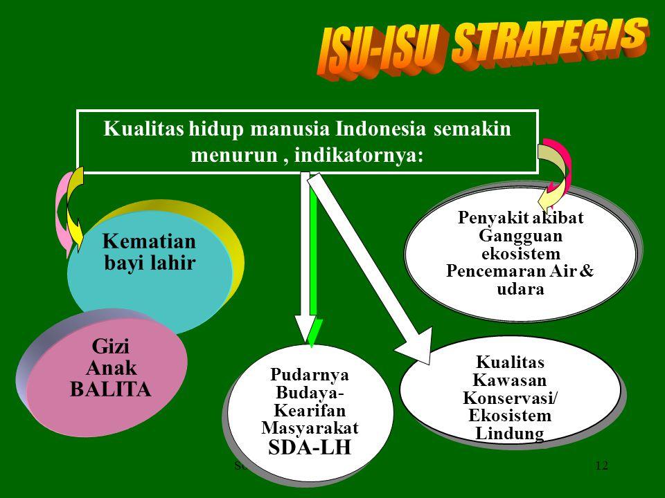 11 Kerusakan Ekosistem SDA dan pencemaran LH semakin mengancam keberlanjutan pembangunan Lemahnya penegakan hukum Rendahnya komitmen & IPTEK penaatan
