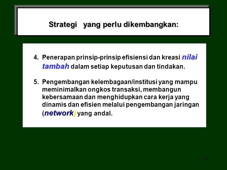 34 Strategi yang perlu dikembangkan: SDM dan IPTEK 3. Pengembangan SDM dan IPTEK yang terkait langsung dengan setiap upaya Pengembangan usaha produkti
