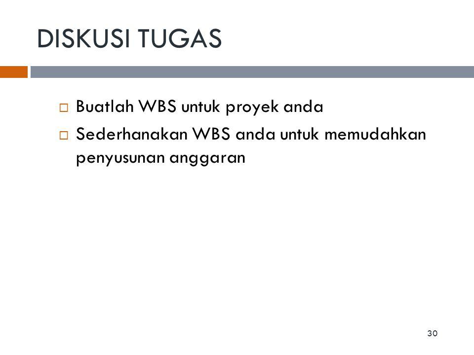  Buatlah WBS untuk proyek anda  Sederhanakan WBS anda untuk memudahkan penyusunan anggaran DISKUSI TUGAS 30