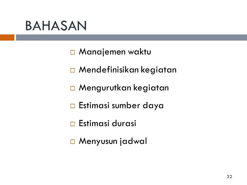 BAHASAN  Manajemen waktu  Mendefinisikan kegiatan  Mengurutkan kegiatan  Estimasi sumber daya  Estimasi durasi  Menyusun jadwal 32