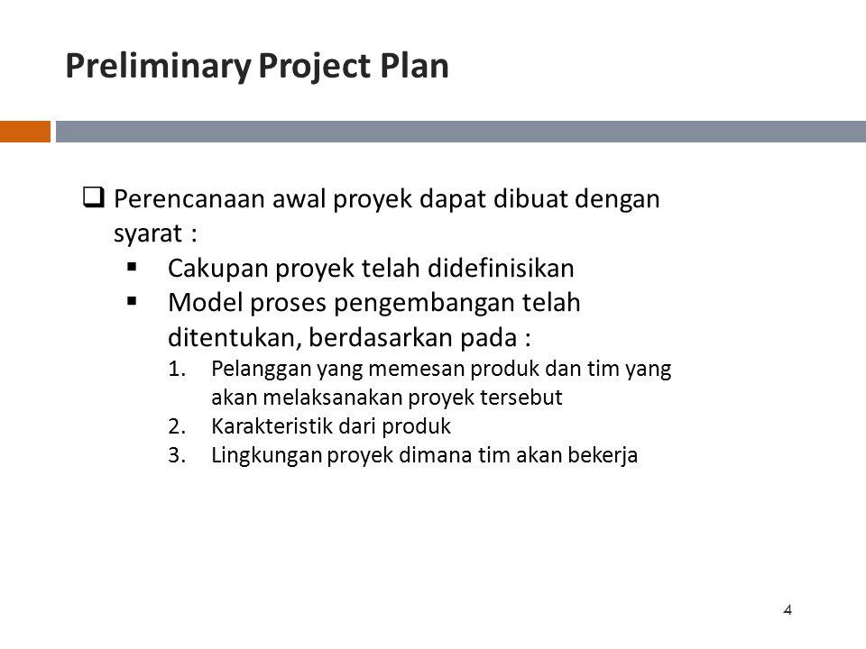 Preliminary Project Plan 5  Perencanaan Awal Proyek setidaknya mencakup : 1.Lingkup proyek yang telah ditentukan 2.Manfaat yang diharapkan  berdasarkan sasaran proyek 3.Rencana awal penjadwalan proyek 4.Rencana awal biaya proyek 5.Rencana awal kebutuhan SDM 6.Rencana awal penanganan resiko 7.Rencana awal asumsi2 proyek