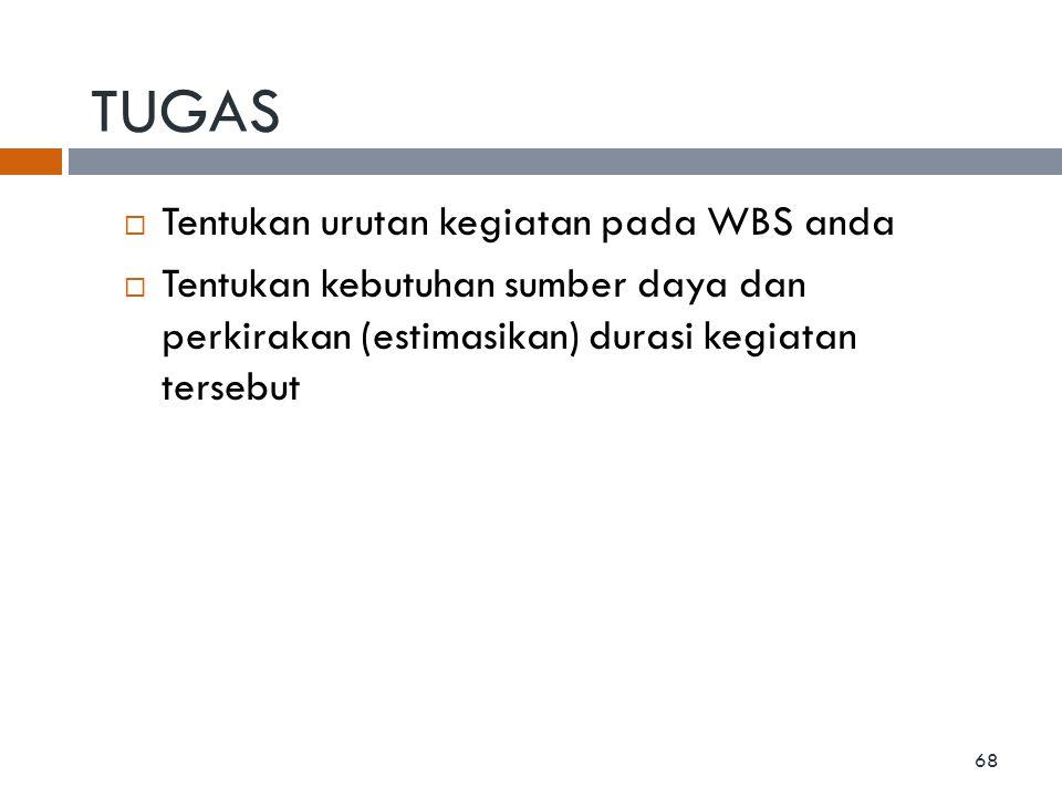 TUGAS  Tentukan urutan kegiatan pada WBS anda  Tentukan kebutuhan sumber daya dan perkirakan (estimasikan) durasi kegiatan tersebut 68