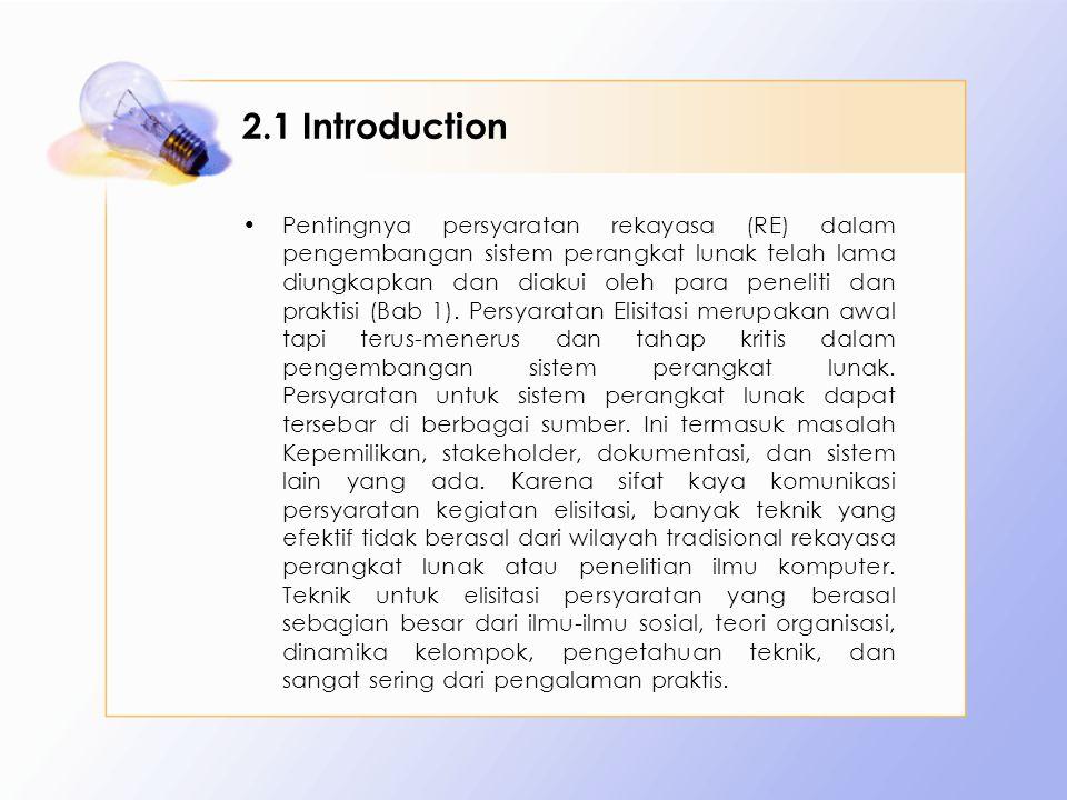 2.1 Introduction Pentingnya persyaratan rekayasa (RE) dalam pengembangan sistem perangkat lunak telah lama diungkapkan dan diakui oleh para peneliti d