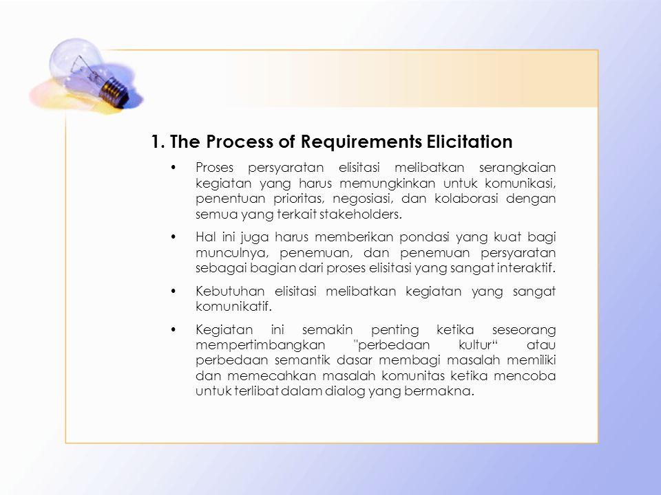 1.The Process of Requirements Elicitation Proses persyaratan elisitasi melibatkan serangkaian kegiatan yang harus memungkinkan untuk komunikasi, penen