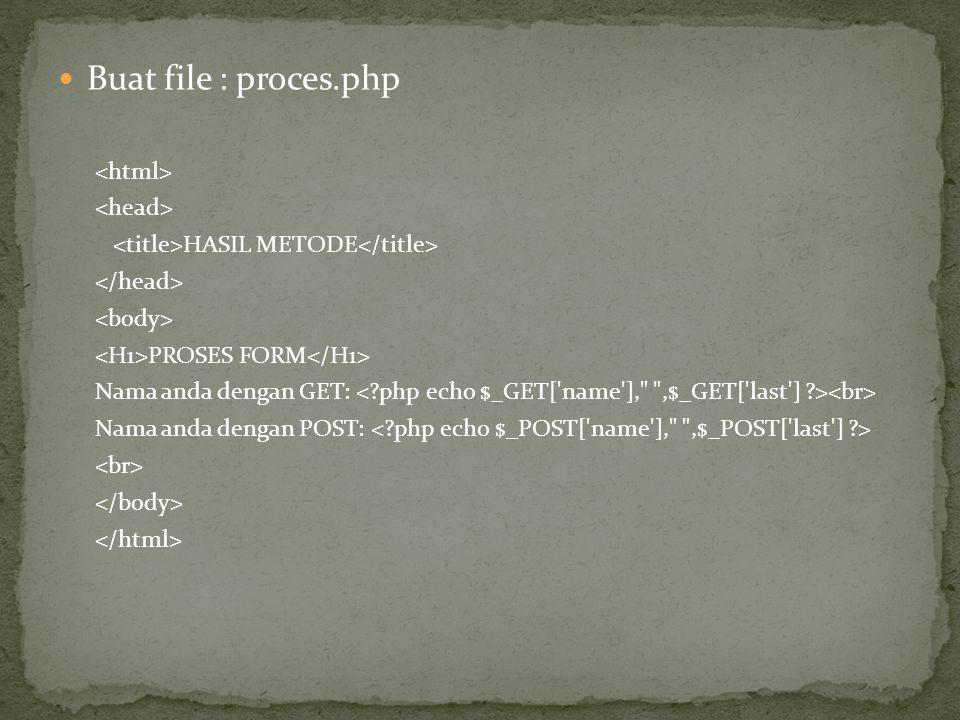 Buat file : proces.php HASIL METODE PROSES FORM Nama anda dengan GET: Nama anda dengan POST:
