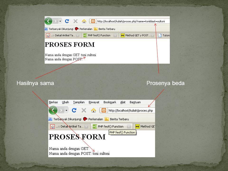 Hasilnya samaProsenya beda