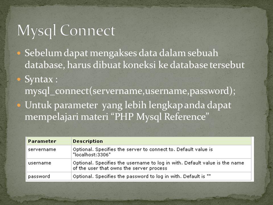 Sebelum dapat mengakses data dalam sebuah database, harus dibuat koneksi ke database tersebut Syntax : mysql_connect(servername,username,password); Un