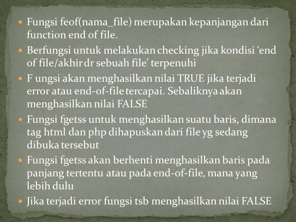 Fungsi feof(nama_file) merupakan kepanjangan dari function end of file. Berfungsi untuk melakukan checking jika kondisi 'end of file/akhir dr sebuah f