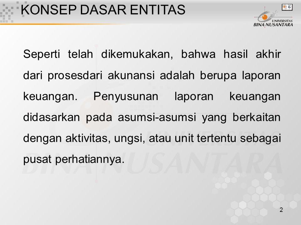 2 KONSEP DASAR ENTITAS Seperti telah dikemukakan, bahwa hasil akhir dari prosesdari akunansi adalah berupa laporan keuangan.