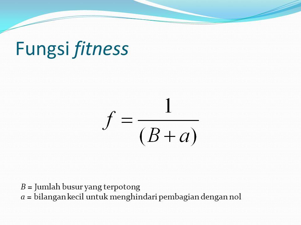 Fungsi fitness B = Jumlah busur yang terpotong a = bilangan kecil untuk menghindari pembagian dengan nol