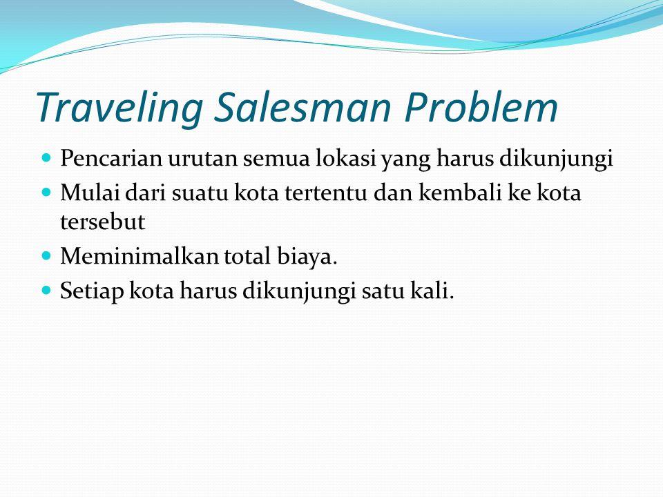 Traveling Salesman Problem Pencarian urutan semua lokasi yang harus dikunjungi Mulai dari suatu kota tertentu dan kembali ke kota tersebut Meminimalka