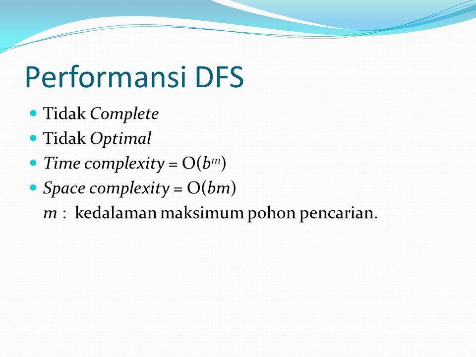 Performansi DFS Tidak Complete Tidak Optimal Time complexity = O(b m ) Space complexity = O(bm) m : kedalaman maksimum pohon pencarian.