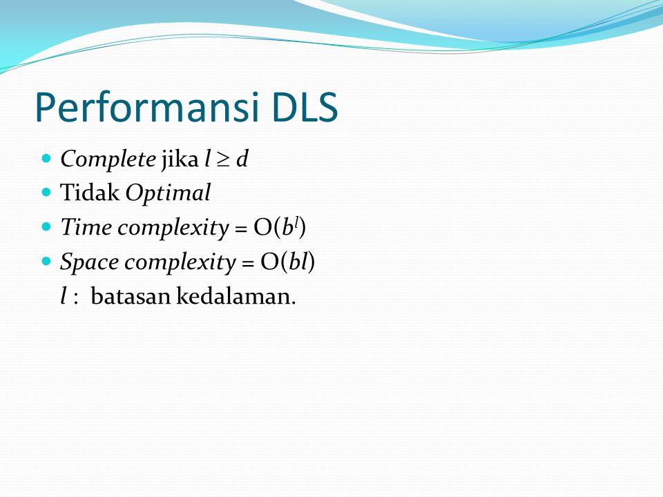 Performansi DLS Complete jika l  d Tidak Optimal Time complexity = O(b l ) Space complexity = O(bl) l : batasan kedalaman.