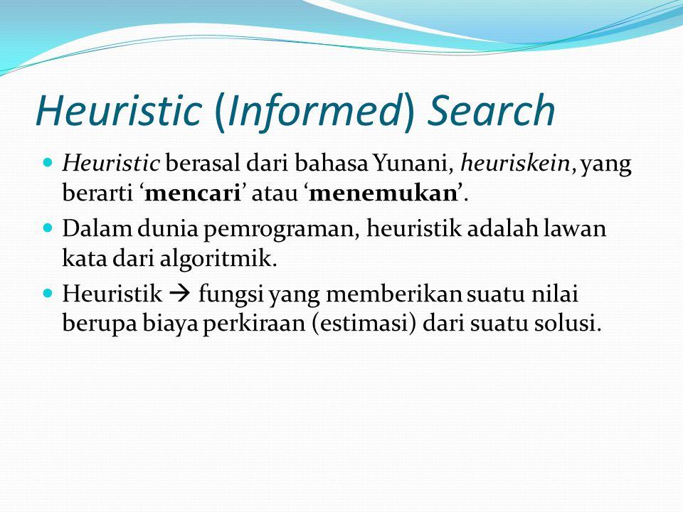 Heuristic (Informed) Search Heuristic berasal dari bahasa Yunani, heuriskein, yang berarti 'mencari' atau 'menemukan'. Dalam dunia pemrograman, heuris