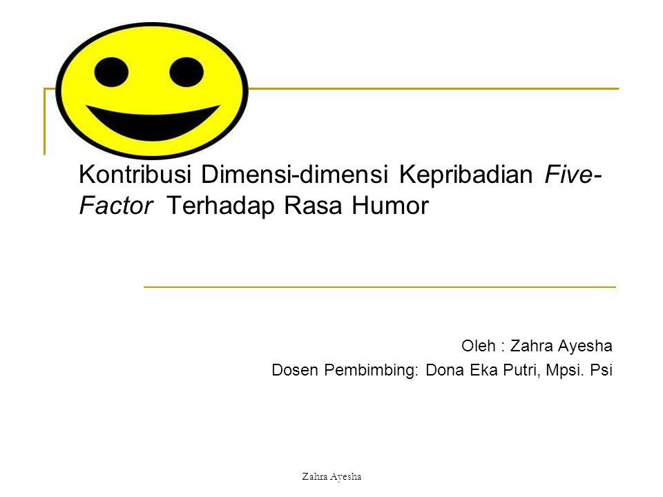 Zahra Ayesha Kontribusi Dimensi-dimensi Kepribadian Five- Factor Terhadap Rasa Humor Oleh : Zahra Ayesha Dosen Pembimbing: Dona Eka Putri, Mpsi. Psi