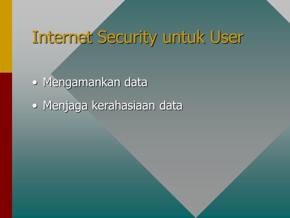 Internet Security untuk User Mengamankan dataMengamankan data Menjaga kerahasiaan dataMenjaga kerahasiaan data