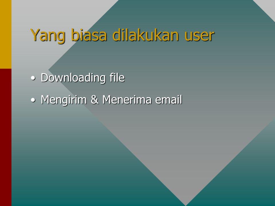 Yang biasa dilakukan user Downloading fileDownloading file Mengirim & Menerima emailMengirim & Menerima email