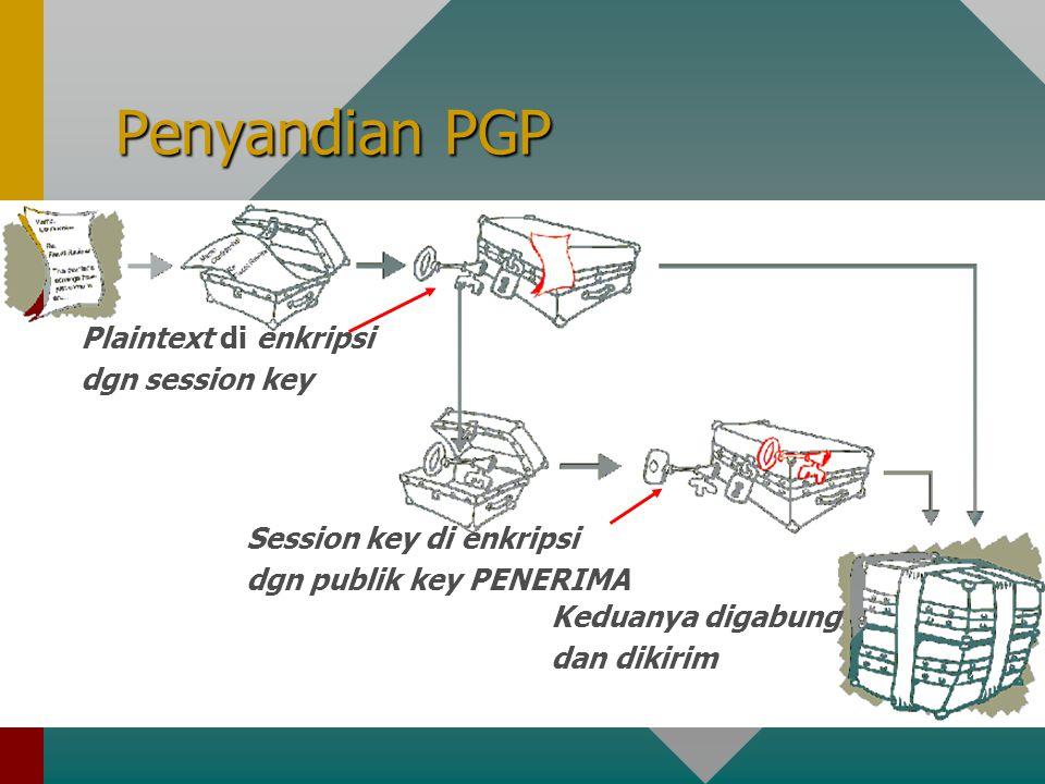 Penyandian PGP Plaintext di enkripsi dgn session key Session key di enkripsi dgn publik key PENERIMA Keduanya digabung dan dikirim