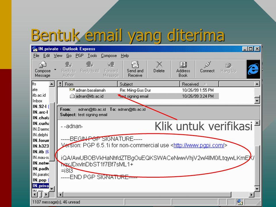Bentuk email yang diterima Klik untuk verifikasi