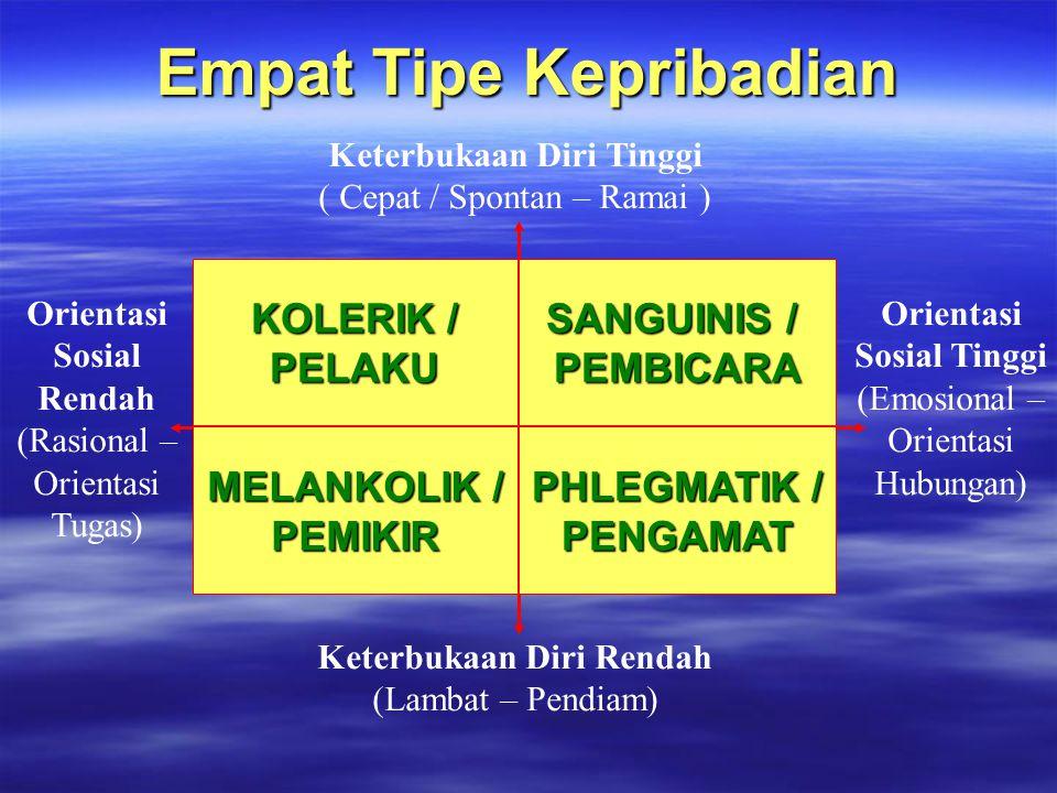 Empat Tipe Kepribadian Orientasi Sosial Rendah (Rasional – Orientasi Tugas) Orientasi Sosial Tinggi (Emosional – Orientasi Hubungan) Keterbukaan Diri