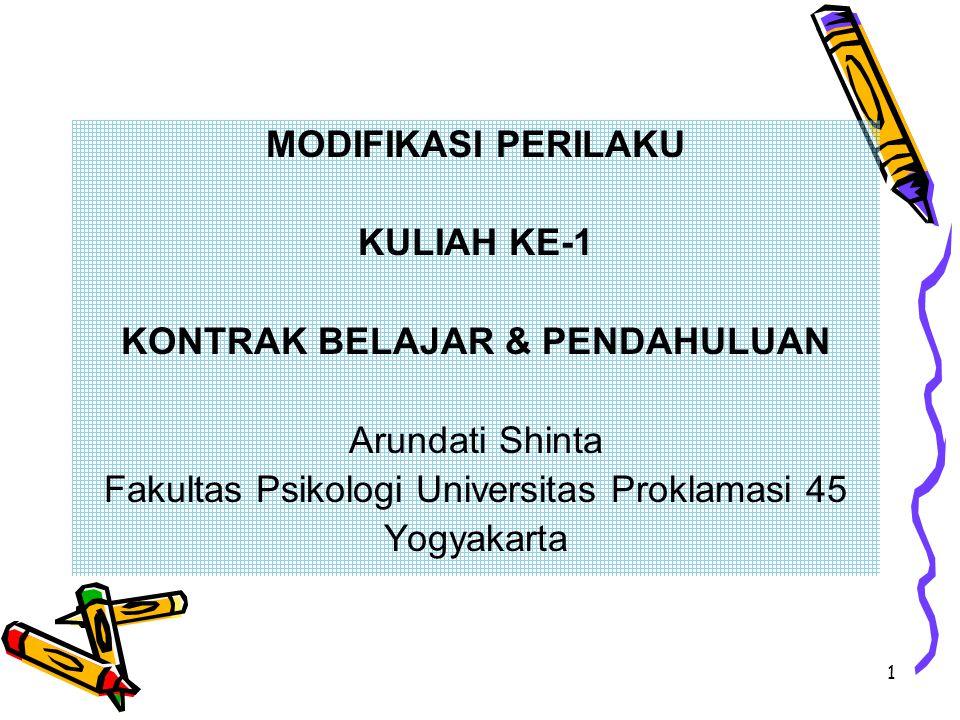 1 MODIFIKASI PERILAKU KULIAH KE-1 KONTRAK BELAJAR & PENDAHULUAN Arundati Shinta Fakultas Psikologi Universitas Proklamasi 45 Yogyakarta