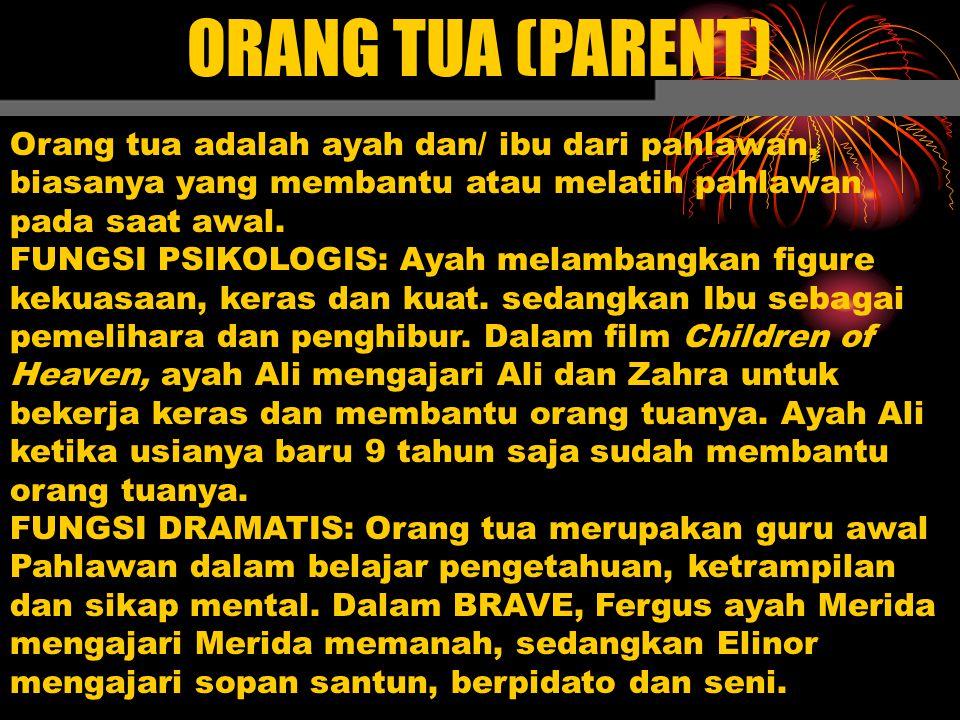 ORANG TUA (PARENT) Orang tua adalah ayah dan/ ibu dari pahlawan, biasanya yang membantu atau melatih pahlawan pada saat awal. FUNGSI PSIKOLOGIS: Ayah