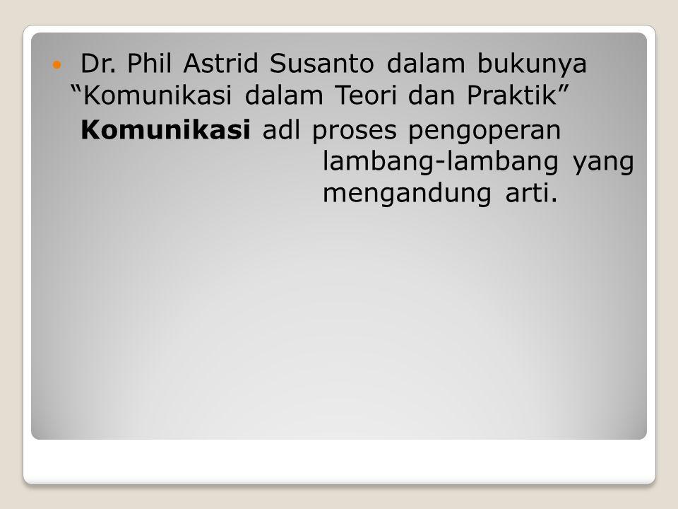 """Dr. Phil Astrid Susanto dalam bukunya """"Komunikasi dalam Teori dan Praktik"""" Komunikasi adl proses pengoperan lambang-lambang yang mengandung arti."""