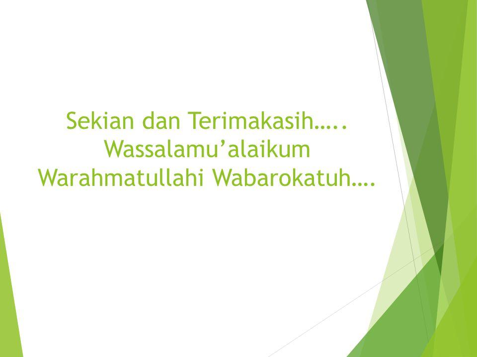 Sekian dan Terimakasih….. Wassalamu'alaikum Warahmatullahi Wabarokatuh….