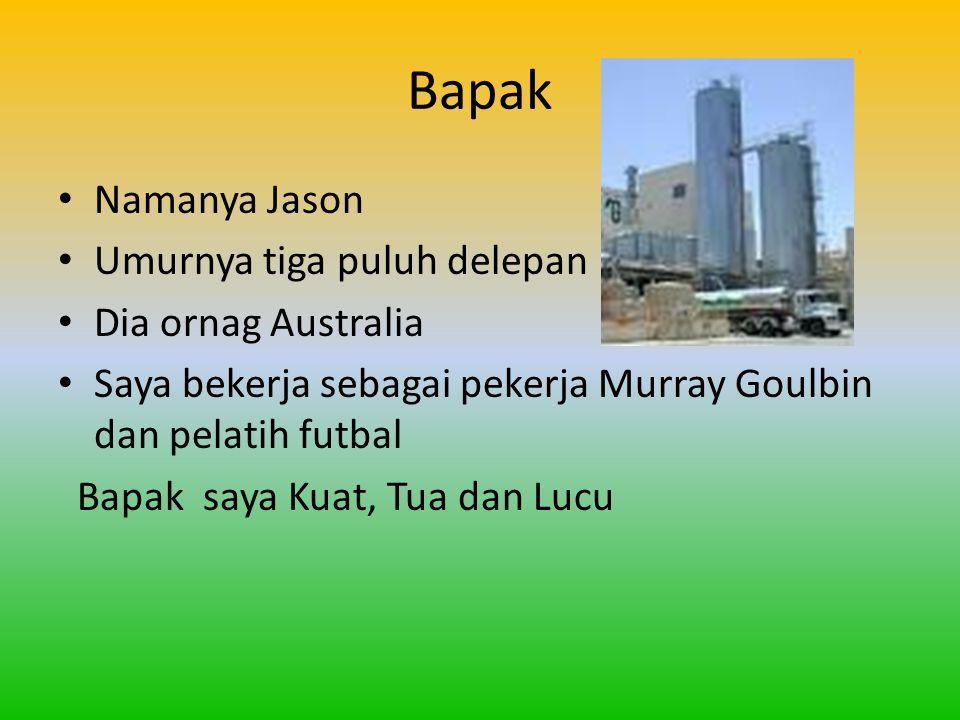 Bapak Namanya Jason Umurnya tiga puluh delepan Dia ornag Australia Saya bekerja sebagai pekerja Murray Goulbin dan pelatih futbal Bapak saya Kuat, Tua dan Lucu
