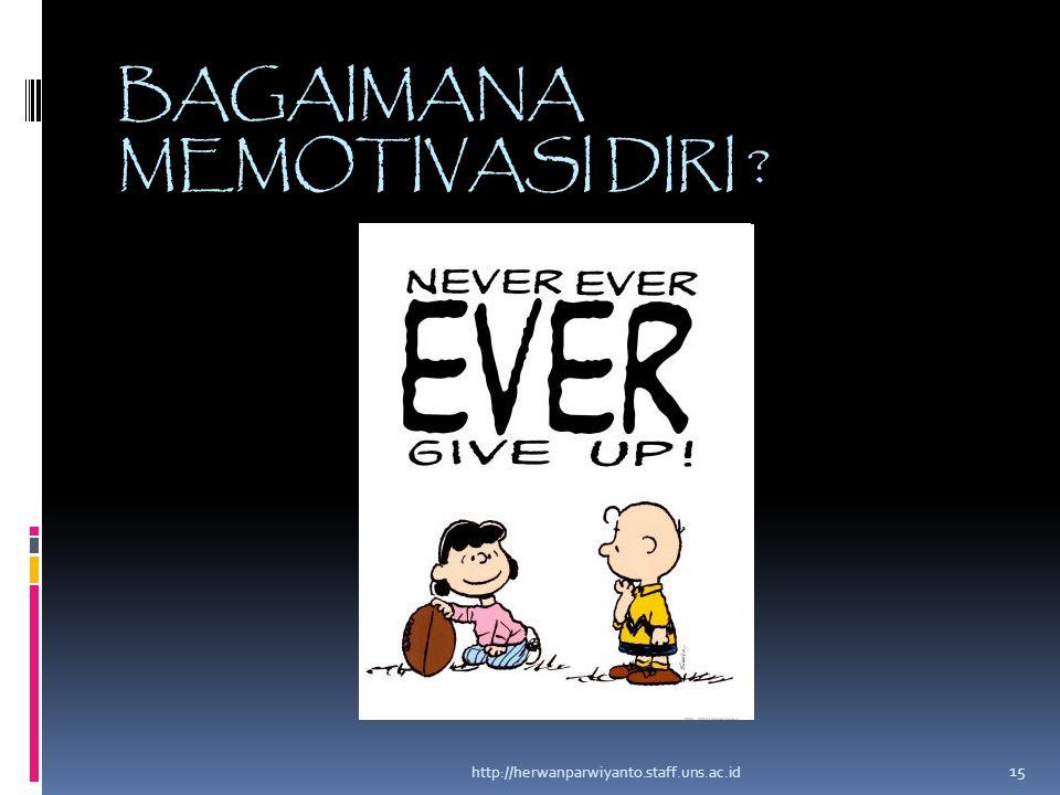 BAGAIMANA MEMOTIVASI DIRI ? http://herwanparwiyanto.staff.uns.ac.id 15