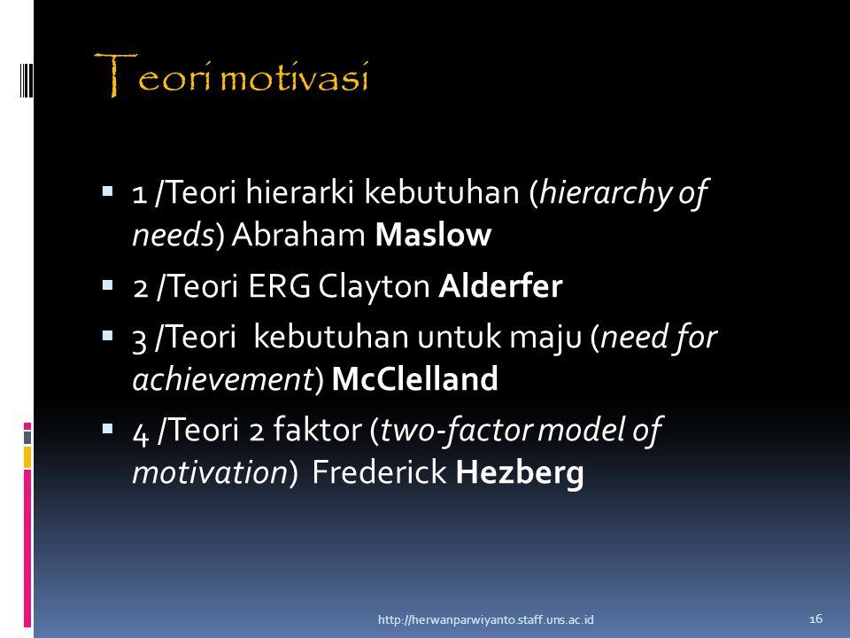 Teori motivasi  1 /Teori hierarki kebutuhan (hierarchy of needs) Abraham Maslow  2 /Teori ERG Clayton Alderfer  3 /Teori kebutuhan untuk maju (need