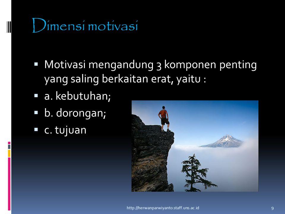 Dimensi motivasi  Motivasi mengandung 3 komponen penting yang saling berkaitan erat, yaitu :  a. kebutuhan;  b. dorongan;  c. tujuan http://herwan