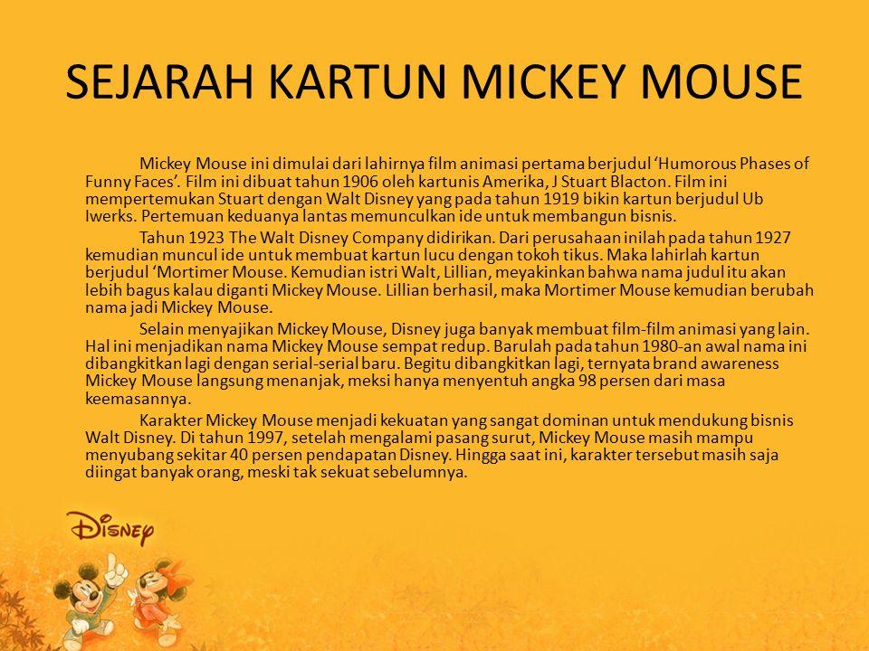 FAKTA TENTANG MICKEY MOUSE Fakta 1 : Sketsa Mickey Mouse dibuat pada saat Walt Disney menaiki kereta bersama istrinya Lilian, dan pada saat itu sketsa tikus tersebut diberi nama Mortimer, namun istri Walt Disney tidak menyukai nama tersebut maka diganti menjadi Mickey Mouse.
