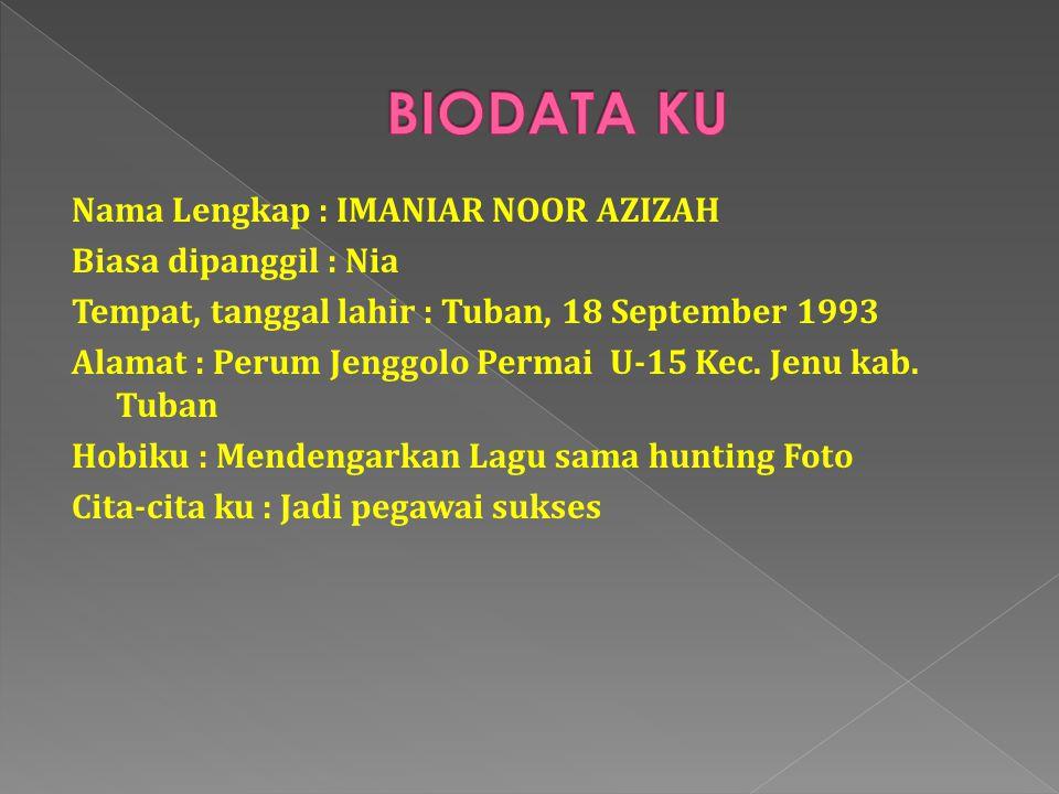 Nama Lengkap : IMANIAR NOOR AZIZAH Biasa dipanggil : Nia Tempat, tanggal lahir : Tuban, 18 September 1993 Alamat : Perum Jenggolo Permai U-15 Kec.