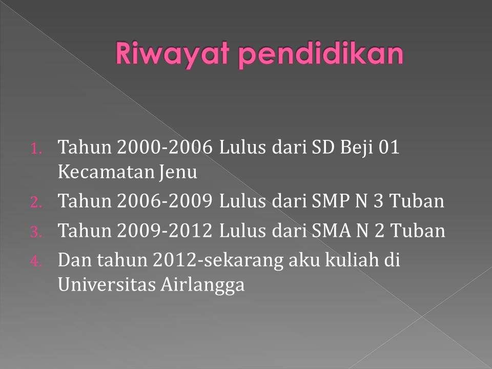 1.Tahun 2000-2006 Lulus dari SD Beji 01 Kecamatan Jenu 2.