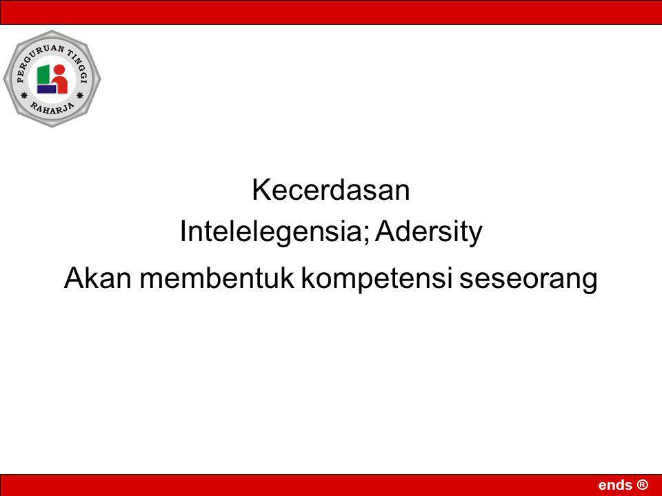 ends ® Kecerdasan Intelelegensia; Adersity Akan membentuk kompetensi seseorang