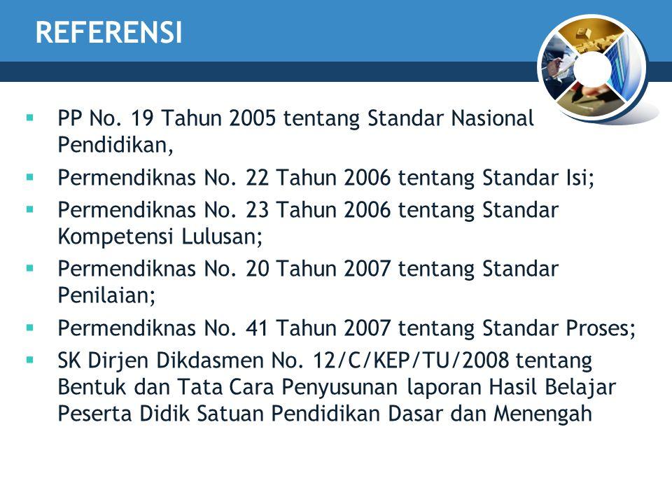 REFERENSI  PP No. 19 Tahun 2005 tentang Standar Nasional Pendidikan,  Permendiknas No. 22 Tahun 2006 tentang Standar Isi;  Permendiknas No. 23 Tahu