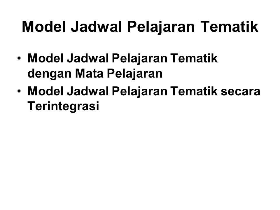 Model Jadwal Pelajaran Tematik Model Jadwal Pelajaran Tematik dengan Mata Pelajaran Model Jadwal Pelajaran Tematik secara Terintegrasi