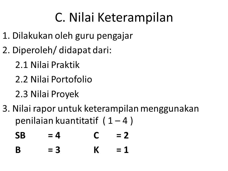 C.Nilai Keterampilan 1. Dilakukan oleh guru pengajar 2.