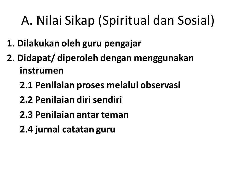 A. Nilai Sikap (Spiritual dan Sosial) 1. Dilakukan oleh guru pengajar 2. Didapat/ diperoleh dengan menggunakan instrumen 2.1 Penilaian proses melalui