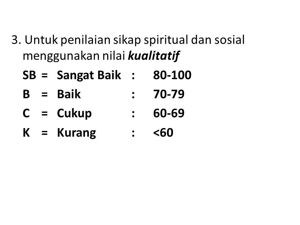 3. Untuk penilaian sikap spiritual dan sosial menggunakan nilai kualitatif SB= Sangat Baik : 80-100 B= Baik: 70-79 C= Cukup: 60-69 K= Kurang: <60