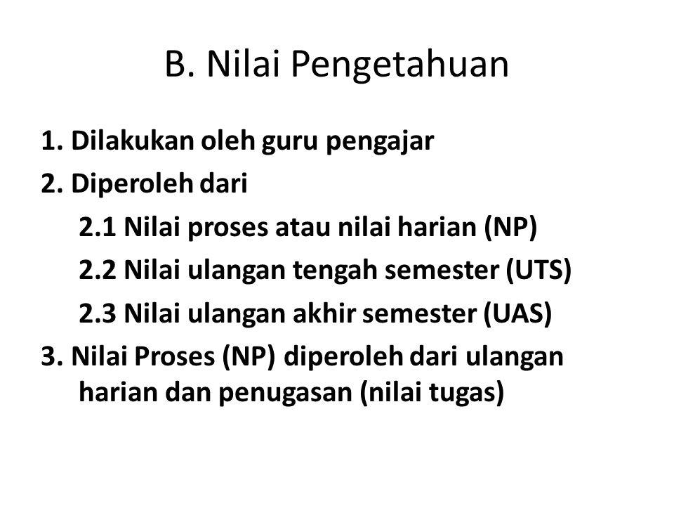 B. Nilai Pengetahuan 1. Dilakukan oleh guru pengajar 2. Diperoleh dari 2.1 Nilai proses atau nilai harian (NP) 2.2 Nilai ulangan tengah semester (UTS)