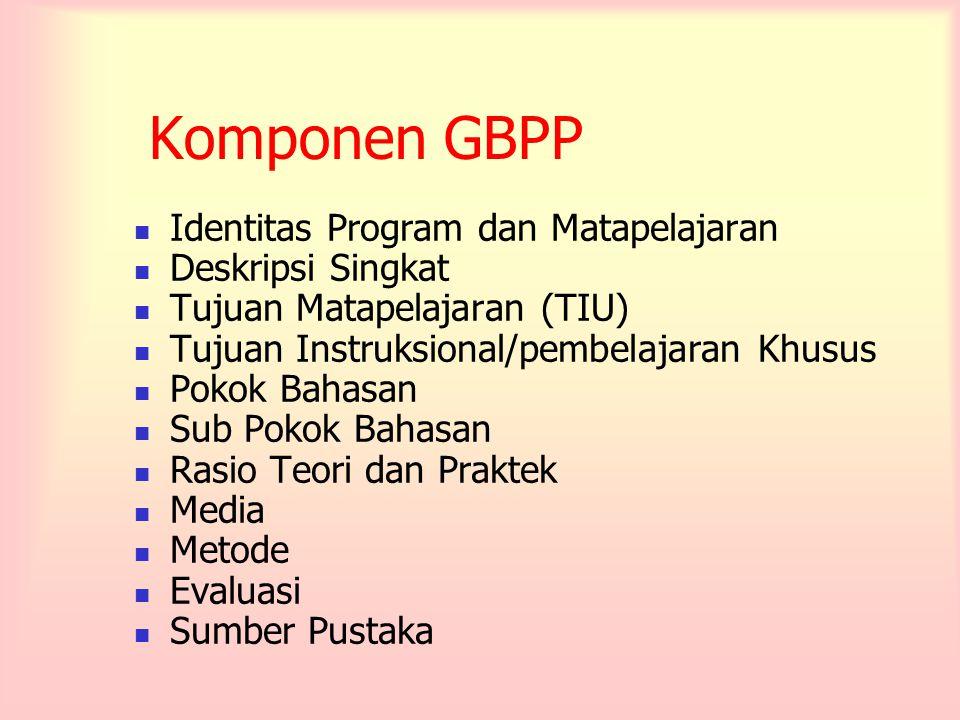 Komponen GBPP Identitas Program dan Matapelajaran Deskripsi Singkat Tujuan Matapelajaran (TIU) Tujuan Instruksional/pembelajaran Khusus Pokok Bahasan Sub Pokok Bahasan Rasio Teori dan Praktek Media Metode Evaluasi Sumber Pustaka