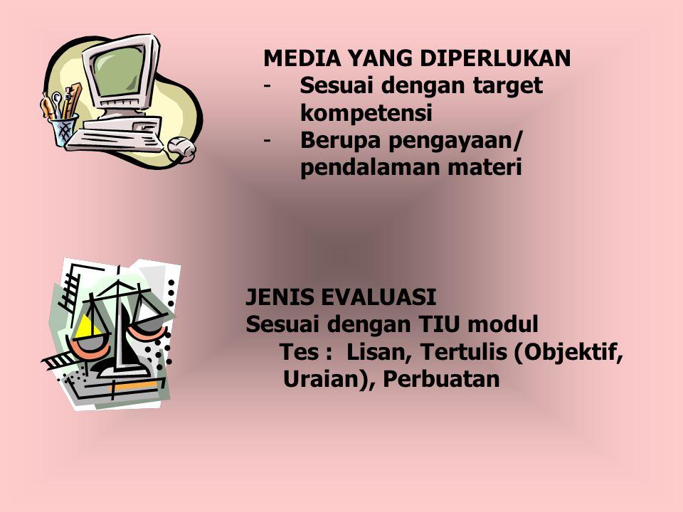 MEDIA YANG DIPERLUKAN -Sesuai dengan target kompetensi -Berupa pengayaan/ pendalaman materi JENIS EVALUASI Sesuai dengan TIU modul Tes : Lisan, Tertulis (Objektif, Uraian), Perbuatan