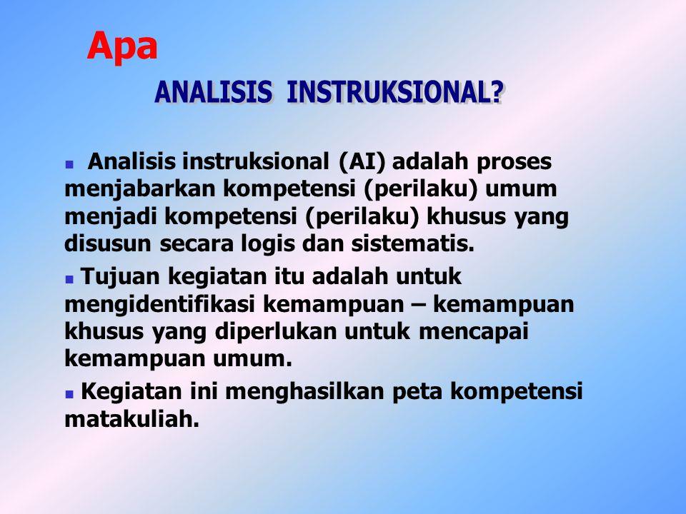 Analisis instruksional (AI) adalah proses menjabarkan kompetensi (perilaku) umum menjadi kompetensi (perilaku) khusus yang disusun secara logis dan si